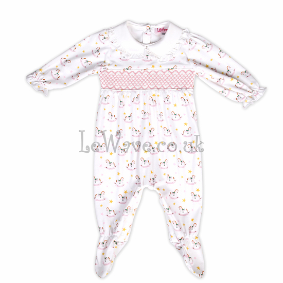 Nice baby girl pink rocking horse smocked grows - LN 016