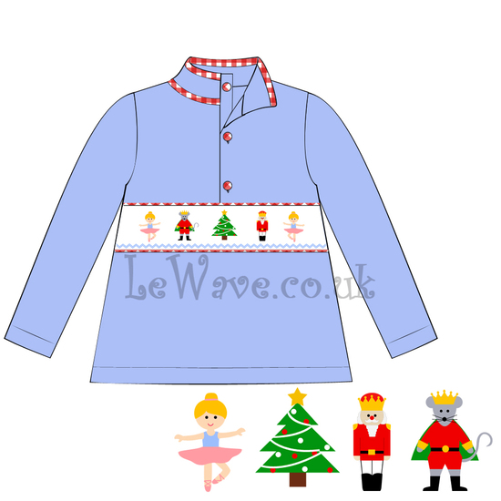 Exquisite light violet christmas smocked sweatshirt for girl - LZ 14