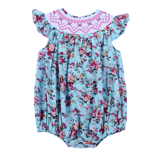 Cute colourful floral smocked bubble - LQ 021