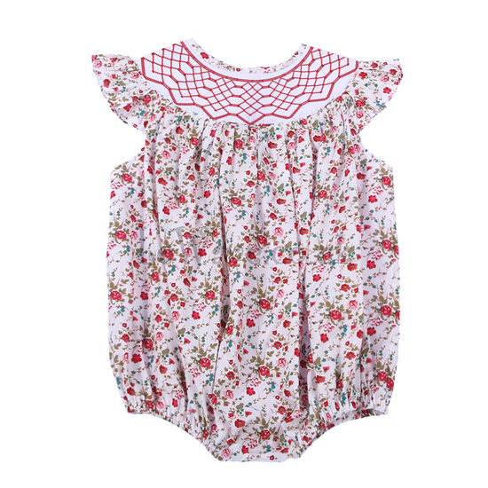 Lovely colourful floral smocked girl bubble - LQ 025