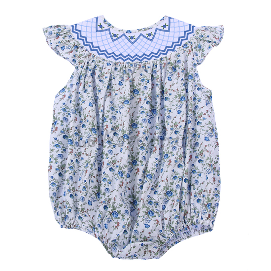 Adorable floral geometric smocked bubble - LQ 023