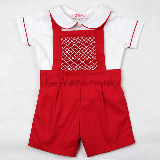Cute red geometric smocked outfit for boys - LB 19