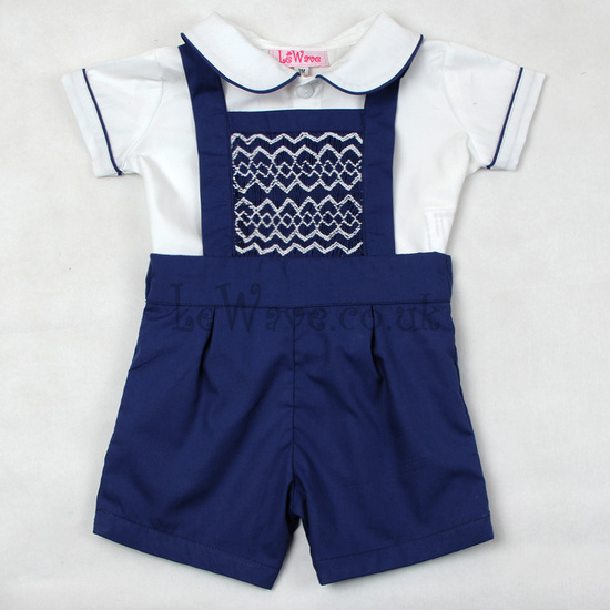 Geometric hand smocked boy outfit  - LB 20