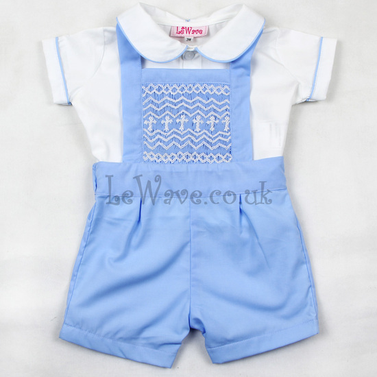 Blue geometric smocked outfits for baby boys - LB 021