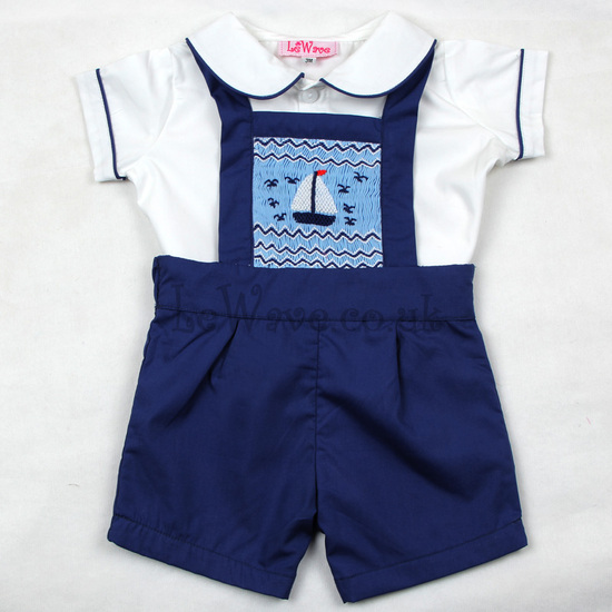 Lovely sailboat hand smocked outfit for boys - LB 22