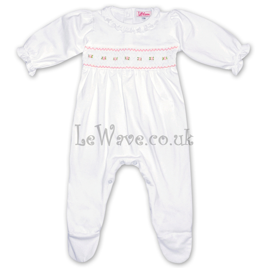 Lovely hand smocked baby grows for girls - LN 007