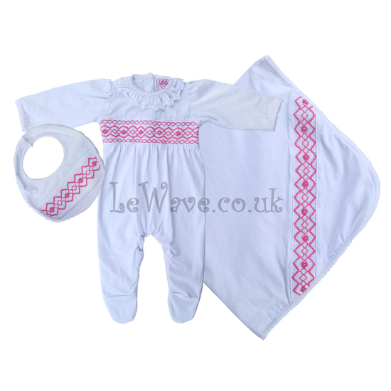 White hand smocked baby grows set for babies - LN 011