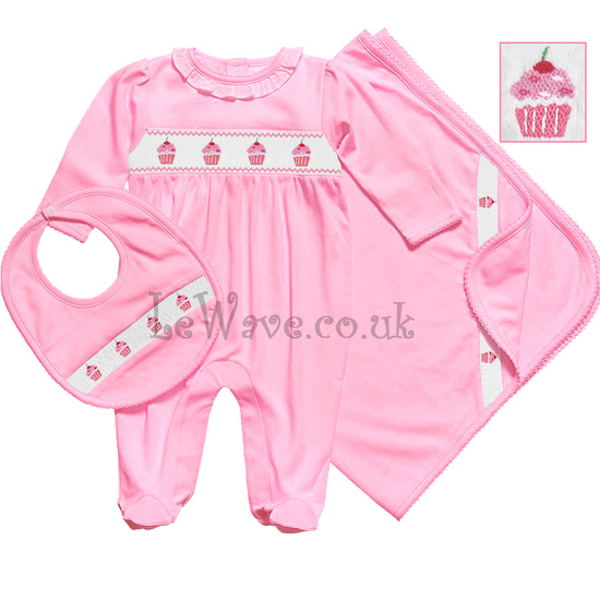 Pink hand smocked baby grows set for babies - LN 012