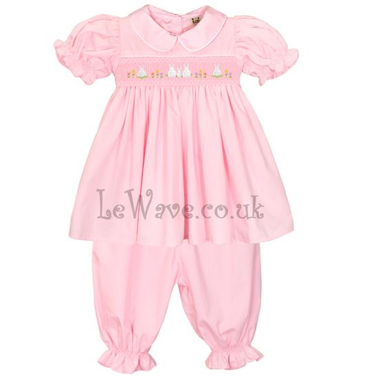 Easter bunny and geometric hand smocked pajamas for little girl - LP 020