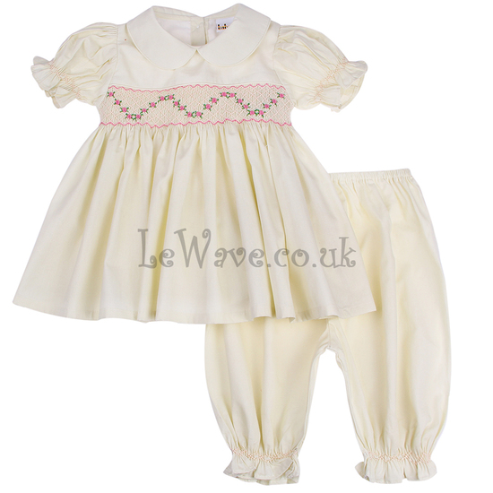 Cream flower smocked pajamas for little girls - LP 021
