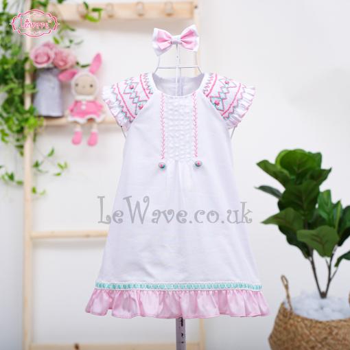 Lovely little girl geometric smocked dress - LD 437