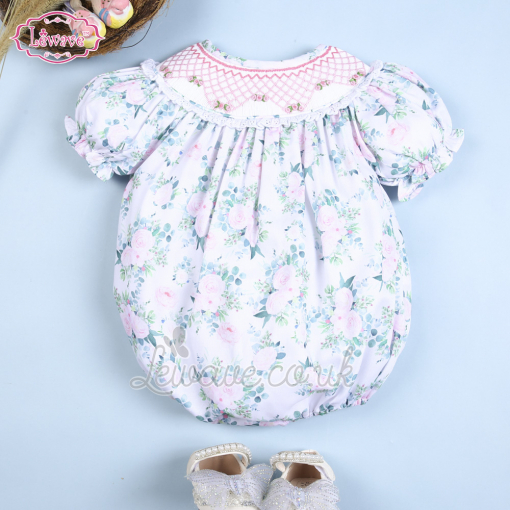 Lovely geometric floral smocked bubble for baby girl - LQ 39